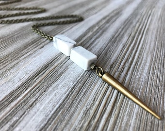 White Marble Pendant Necklace // Natural Stone Necklace // Spike Necklace // Gift for Her // Long Necklace // Modern Jewelry