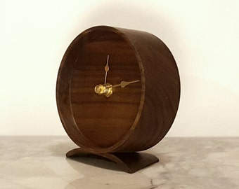Wood Clock - Solid walnut with black, brass or white clock hands