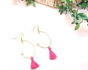 tassel earrings, pink earrings, hoop earrings, minitassel earrings, fringe earrings,