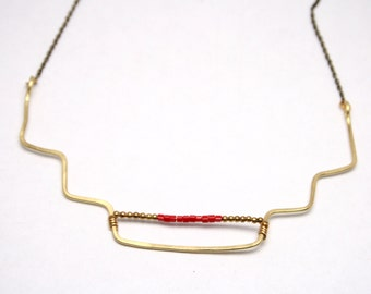 EVENING II | Hammered Wire with Red Glass Seed Beads and Brass Beads