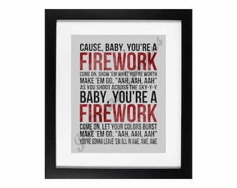 Firework by Katy Perry | Song Lyric Digital Printable - Instant Download