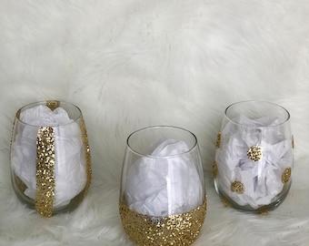 Gold Glittered Stemless Wine Glass