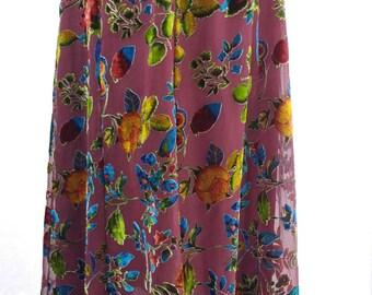 Vintage Glowing Velvet Flowers Skirt