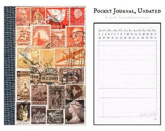 Sunset Travel Diary Notebook • Orange Brown Stamp Art Collage