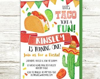 Taco Birthday Invitation, Mexican Taco 'bout Fun Birthday Party Invite, Mexican Fiesta Taco Cactus Sombrero Birthday Printable Invitation
