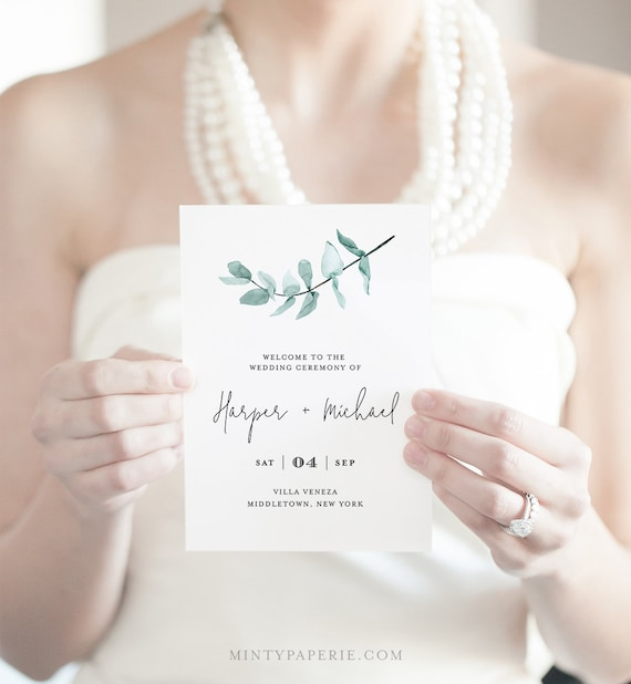 Folded Wedding Program Template, INSTANT DOWNLOAD, Order of Service, 100% Editable Text, Eucalyptus Greenery, Boho Wedding, DIY  #049-122WP