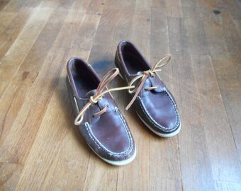 vintage 90s bass sea bound boat shoes brown leather lace up womens size 7 1/2 M