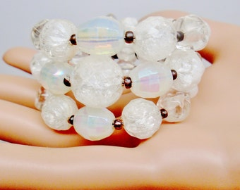 Vintage Lucite Mid Century AB Art Glass Crackled Translucent Lucite Beaded Spring Cuff Bracelet Bride White Runway Statement One Size Fits