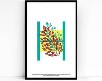 Letter H wall art - Alphabet Print Leaves - Home decor- 5x7 art print - leaf print - nursery decor wall art - single letter wall decor -arte