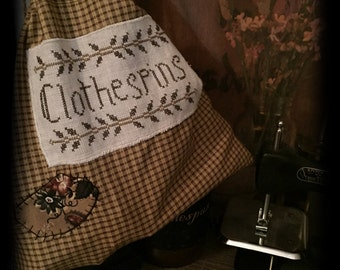 """Handmade:""""Clothespins Bag"""" Cross Stitch Bag with Clothespins"""