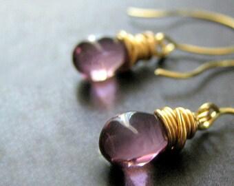 14K GOLD Wire Wrapped Earrings - Orchid Purple Teardrop Earrings. Handmade Jewelry.