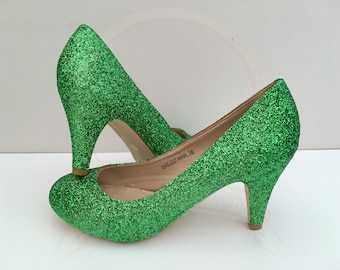 Emerald Green Glitter Heels - Mid Heel Court Shoes - Bridal - Wedding Shoes - Bridesmaid - Prom - Party - Customised Shoes - UK Size 3-8