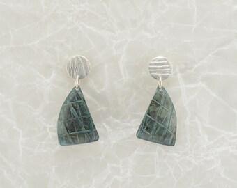 Sterling silver + patterned patina dangle earrings, brushed silver, verdigris copper, unique earrings, boho, artisan earrings, gift for her