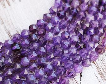 amethyst beads, rose cut, diamond cut, faceted beads, gemstone beads, 7mm x 8mm, full strand.