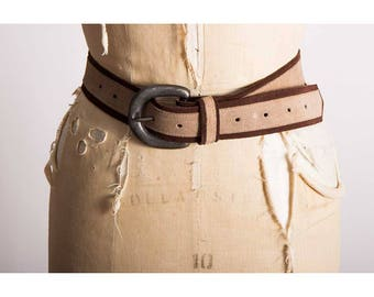 Vintage suede belt / 1960s 1970s 2 toned brown wide hip belt / Unisex hippie belt