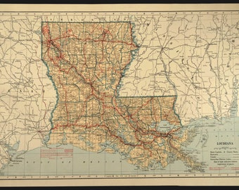 Louisiana road map Etsy