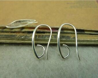 10 Ear wire component 11x20mm shiny silver wholesale earrings brass ear wires ear wire with hook