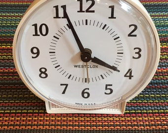 Shipping Included - Vintage Westclox Made in the USA Alarm Clock in Shades of White and Ivory- Shipping Included