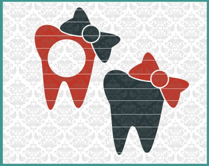 CLN0464 Teeth Dentist Hygienist Dental Tooth Monogram Bow SVG DXF Ai Eps PNG Vector Instant Download Commercial Cut FIle Cricut SIlhouette