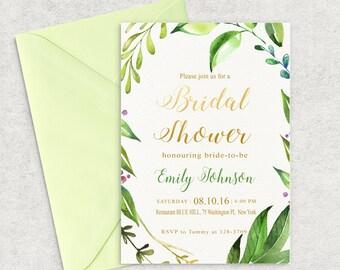 Printable Bridal Shower Invitation, Green Leafs Bridal Shower Invitation, Bridal Shower Invite, Organic Bridal invite, Custom invitation