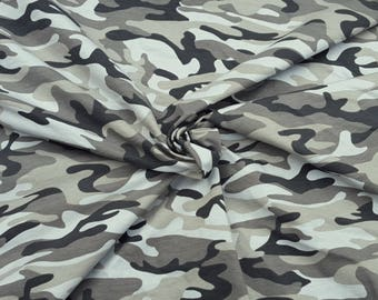 SOLD OUT Combed Cotton Lycra Camouflage Print 1 Fabric Jersey Knit by Yard Olive Gray 9/17