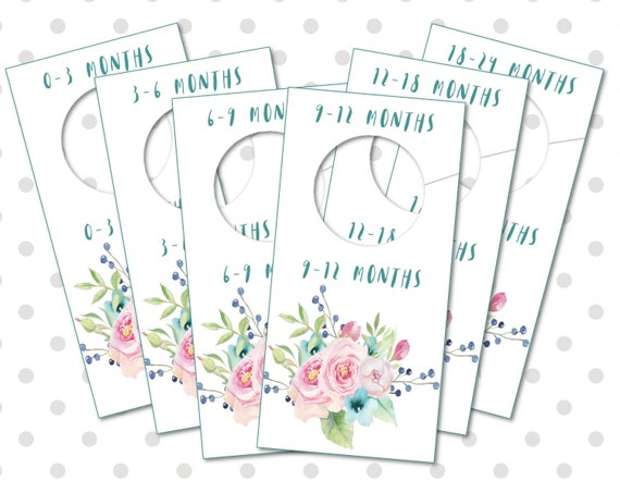 Baby nursery closet organizers and dividers printable for Baby clothes size organizer