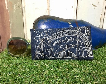 Denim pair Whale embroidery glasses case