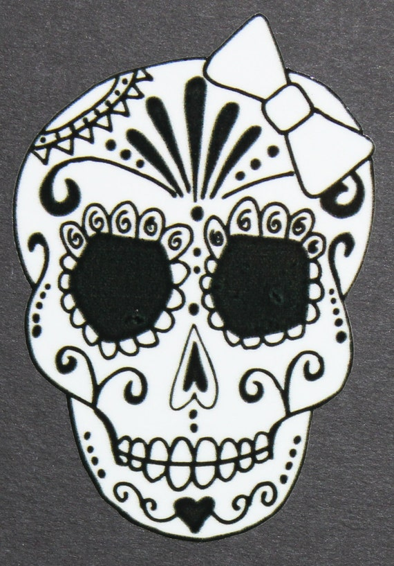 Sugar Skull Template Day of the Dead Art Girl Sugar Skull Car Sticker 3946