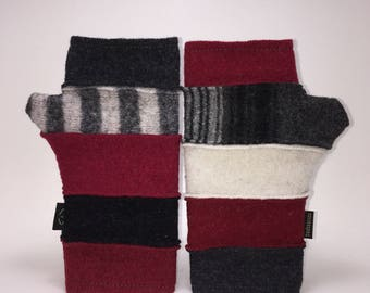 Baabaazuzu Black, White, Red Striped Felted Wool Fingerless Gloves