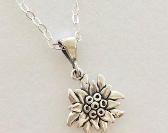 Edelweiss Flower Necklace, Sterling Silver Edelweiss Charm, Wildflower Necklace, Austrian Mountain Edelweiss, Flower Of The Alps, Sterling