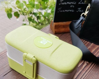 Sustainable green eco friendly lunchbox made from organic wheatstraw