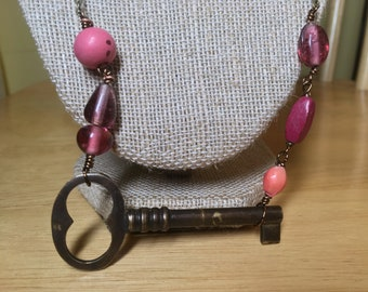 Beaded Antique Key Necklace