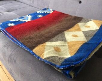 Alpaca Blanket Throw from Ecuador REVERSIBLE, Wool Throw, Wool Blanket, blue
