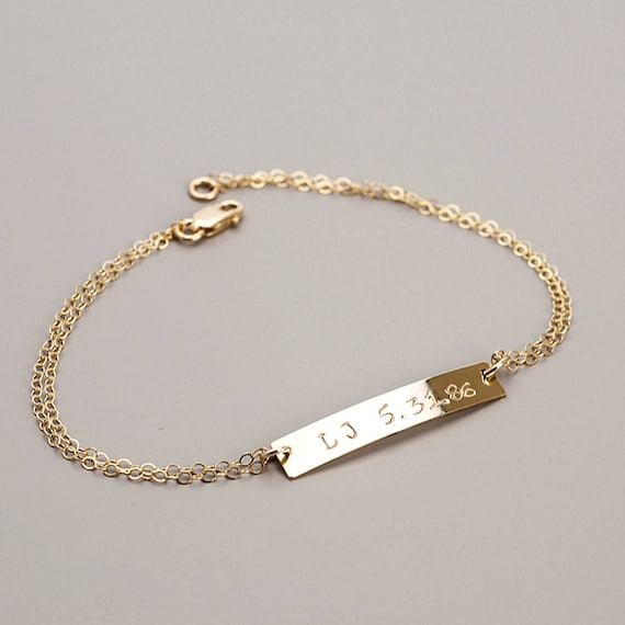 Personalized Bar Bracelet, Bar Bracelet, Stacking Bracelet, Name Bracelet, Silver Gold Personalized Bracelet, Bar Jewelry, Bridesmaid Gift
