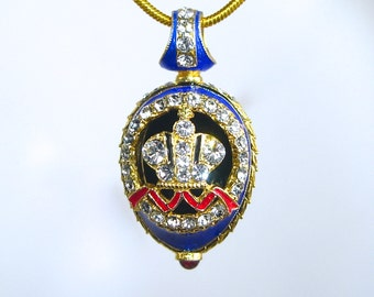 "SUPERB ""Great Imperial Crown""! Guilloché enamel Faberge style egg-shaped pendant, 925 sterling silver, 24k gold, garnet, Swarovski crystals"