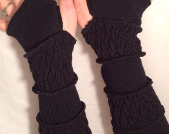 TUTORIAL black sleeves upcycled arm warmers