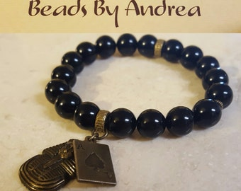 """Fraternity Charm Collection """"Ace C1ub  Black and Gold"""