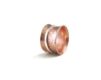 Copper Ring with Sterling Silver Spinner - Spinner Ring - Copper Band