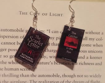 Book Earrings - The Scarlet Letter and Catcher In The Rye