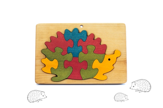 Wooden Puzzle Hedgehog - Jigsaw Puzzle - Gift for Toddler - Kids - Montessori Toy - Wooden Animal Puzzle Toy