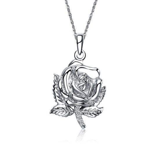 Alpha Sigma Tau Rose Lavalier Sterling Silver M010