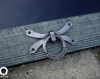 Nora - Hand forged Hardware / Door or Drawer Ring pull / Dungeon Kinky Stuff / BDSM Bondage Furniture /Barn door handles / Iron cabinet pull
