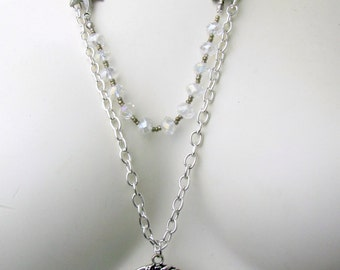 Sailing Ship Necklace ~ Starfish Bracelet ~ Silver Tone Chain ~ Stars of Crystal Beads ~ Handcrafted