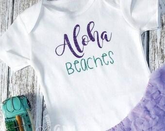 Aloha beaches, Summer, Birthday Gift, Gift, Beachwear, Glitter, Aqua and Purple, Beach Birthday, Birthday, Aloha, Summer