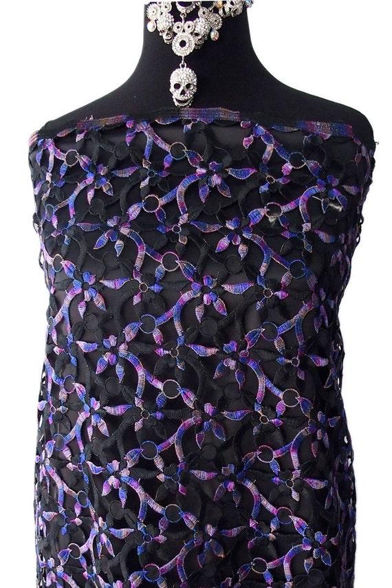Guipur encaje morado de tela azul negro hilo metálico multicolor de ...