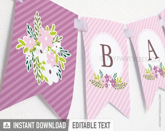 Floral Baby Shower Banner - Girl Pink Stripes - INSTANT DOWNLOAD - Printable PDF with Editable Text