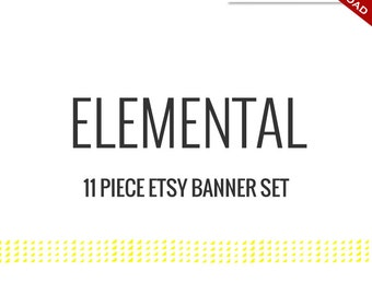 Custom Etsy Banner and Avatar Design Set - 11 Piece Elemental DIY Template Shop Set - Clean Minimalist Simple Classic Modern fdr