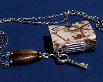 Keys / retro /  handmade paper  miniature notebook necklace