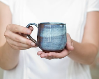 Blue Shimmering coffee cup with handle//teacup for a cosy breakfast//harmonious shape with blue glaze//Ceramic Mug