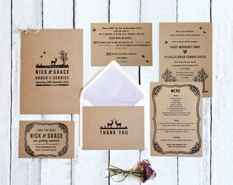 Printed Wedding Stationery Set 'Into The Woods'